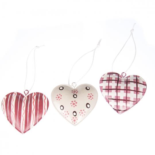 """Комплект елочных игрушек """"Три сердца"""" (047NY)"""