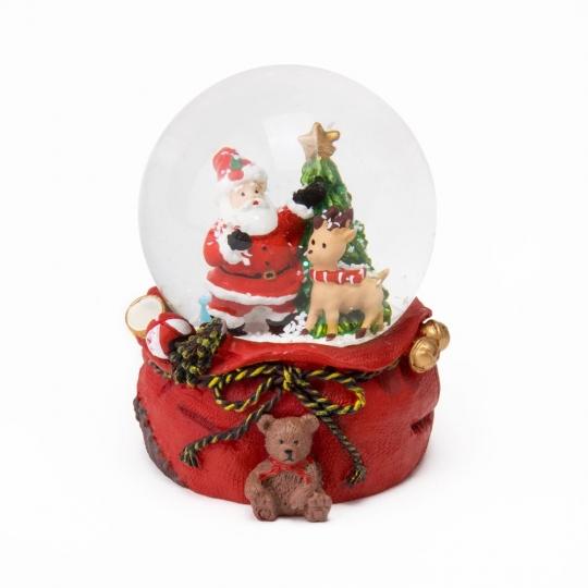 """Музыкальный снежный шар """"Санта и олень"""", 9 см. (6016-011)"""