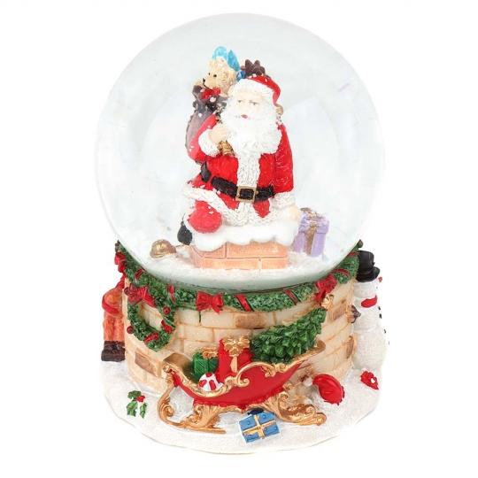 """Музыкальный снежный шар """"Санта на крыше"""", 14 см. (6016-016)"""