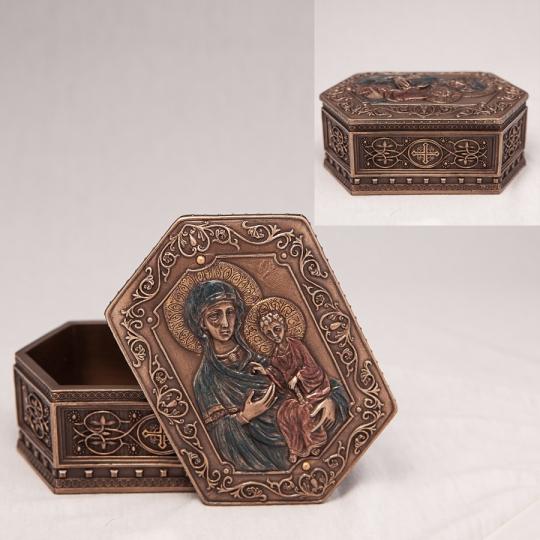 """Шкатулка """"Дева Мария и Иисус"""" (6 см) (75937A4)"""