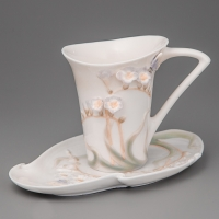"""Чашка, блюдце, ложка """"Бабочка в цветах"""" (10 см)"""