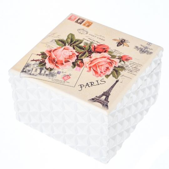 "Деревянная шкатулка ""Розы Париж"" (Зеркало) (121TP)"