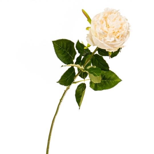 """Цветок искусственный """"Роза бархатная белоснежная"""" (2000-035WT)"""
