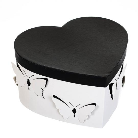 """Набор с 3 коробок """"Сердце"""" черный (8136-007)"""