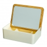Шкатулка- зеркало с бамбуковой крышкой  15*11 см (0500-008)