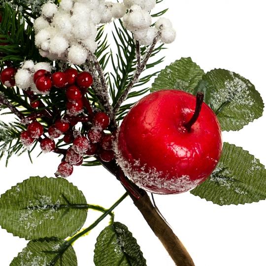 """Ветка """"Ель с яблоками в снегу"""" (023NM)"""