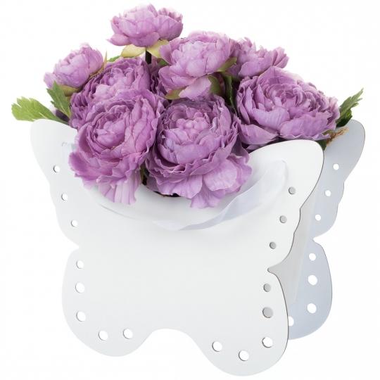 """Коробка для цветов """"Бабочка"""" белая (0588J)"""