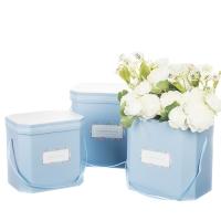 """Коробка для цветов набор 3шт. """"Flowers for you"""" голубые"""
