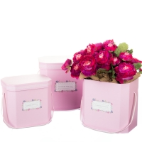 """Коробка для цветов набор 3 шт. """"Flowers for you"""" розовые"""