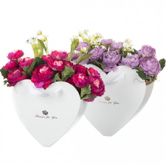 "Коробка для цветов набор 2 шт. ""Сердца"" белые (0596J)"