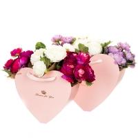 """Коробка для цветов набор 2 шт. """"Сердца"""" розовые"""