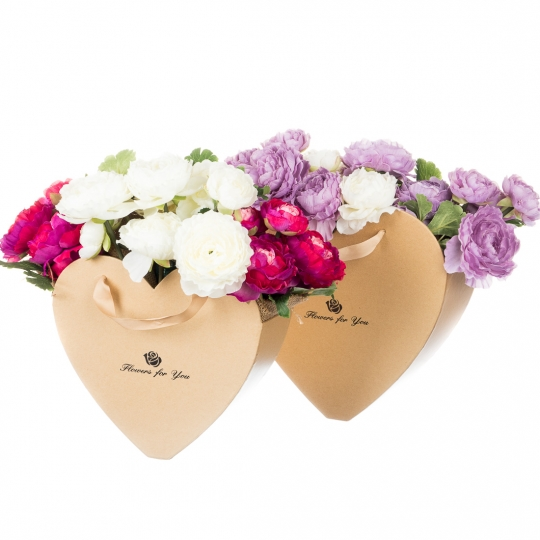 "Коробка для цветов набор 2 шт. ""Сердца"" бежевые (0598J)"