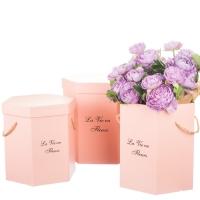 """Коробка для цветов набор 3 шт. """"La vie en fleurs"""" розовые"""