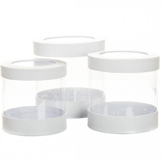 """Коробка для цветов набор 3 шт. """"Цилиндр прозрачный"""" белые (0602J)"""