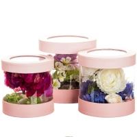 "Коробка для цветов набор 3 шт. ""Цилиндр прозрачный"" розовые"