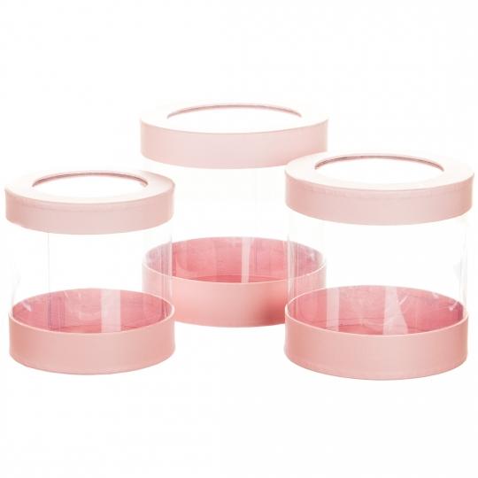 """Коробка для цветов набор 3 шт. """"Цилиндр прозрачный"""" розовые (0603J)"""