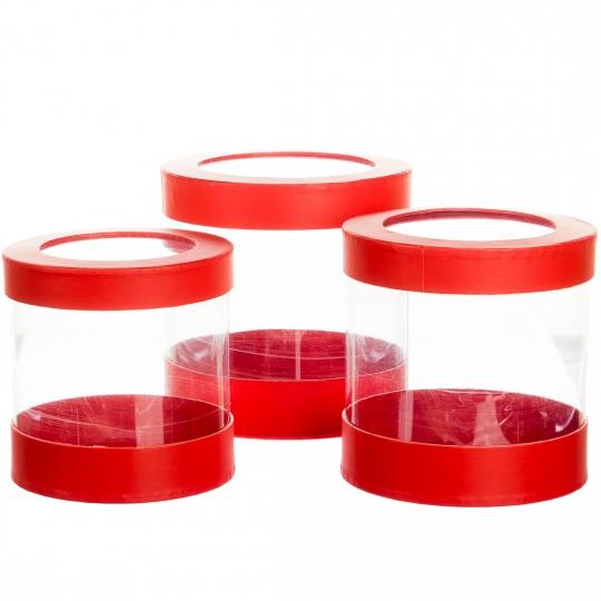 """Коробка для цветов набор 3 шт. """"Цилиндр прозрачный"""" красные (0604J)"""