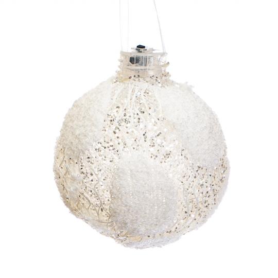 "Ёлочная игрушка ""Белый шар в цветах""(не горит лампочка) (00BR-022NZK)"