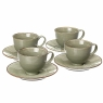 Чайный набор (4 чашки + 4 блюдца). Оливковый (002ALP/green)