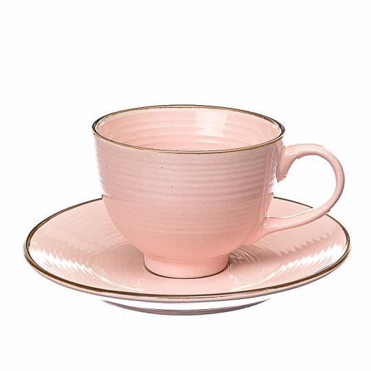 Чайный набор (4 чашки + 4 блюдца). Розовый (002ALP/pink)
