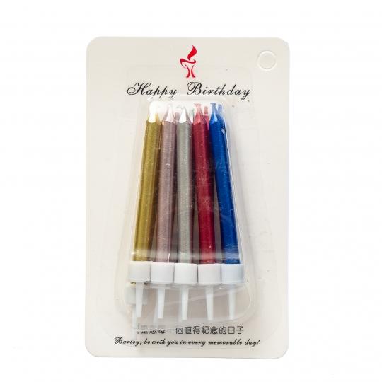 Набор высоких Разноцветных свечей для торта (8512-016)