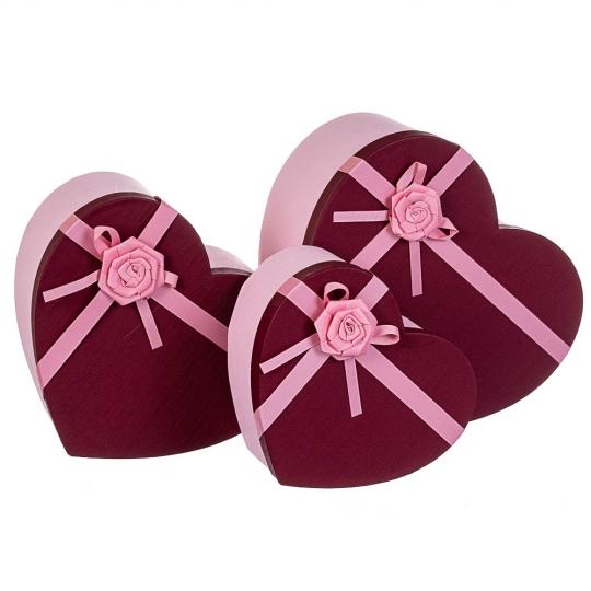 """Набор из 3 коробок """"Сердце"""" 27*30*14,5 * рандомный выбор дизайна (8212-001)"""