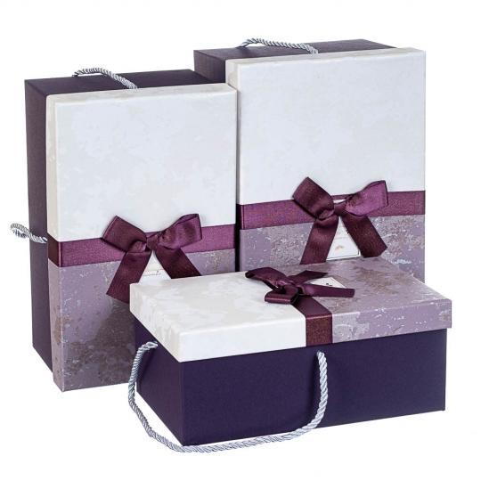 """Набор из 3 коробок """"С бантом"""" 31*20*15  *рандомный выбор дизайна (8212-008)"""