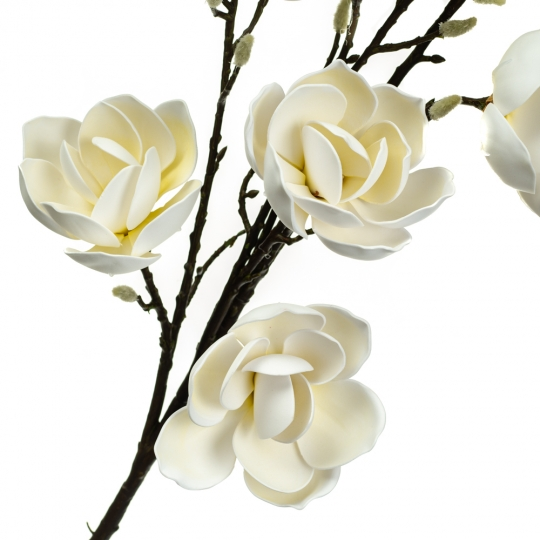 Ветка цветущей магнолии 126 см, белая (8606-011)