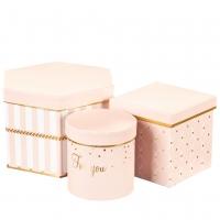 "Набор коробок для цветов ""Для тебя"" (розовый цвет), (22*20*15см)"