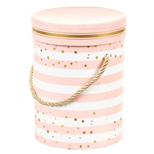 """Коробка для цветов """"Полосатик"""" (розовый цвет), (14*14*18см) (002YA-pn)"""