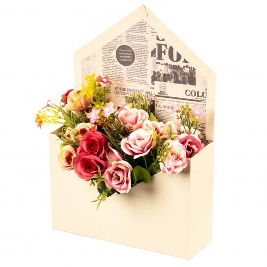 """Коробка для цветов """"Сюрприз"""" (бежевый цвет), (14*14*18см) (003YA-bg)"""