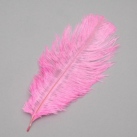 Страусиное перо 25-30 см розовый (8501-002/pink)