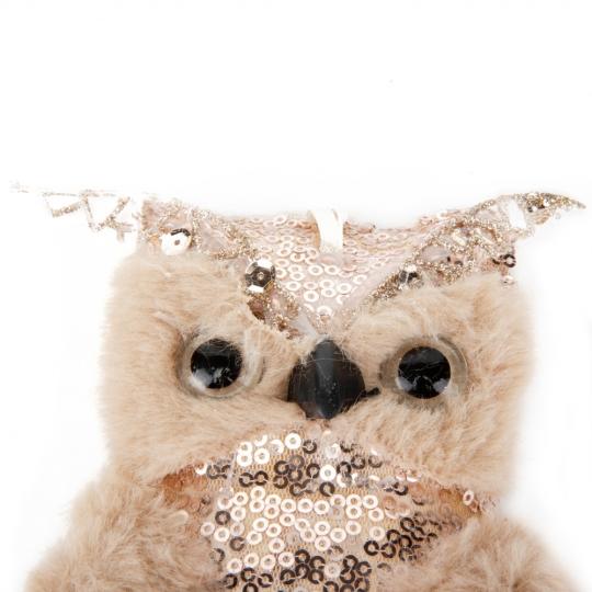 """Новогодняя игрушка """"Мудрая сова"""" золотая (6018-006)"""