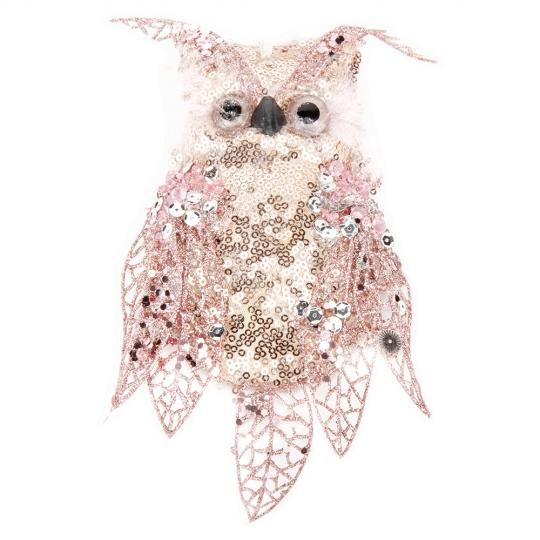 """Новогодняя игрушка """"Мудрая сова"""" розовая (6018-007)"""