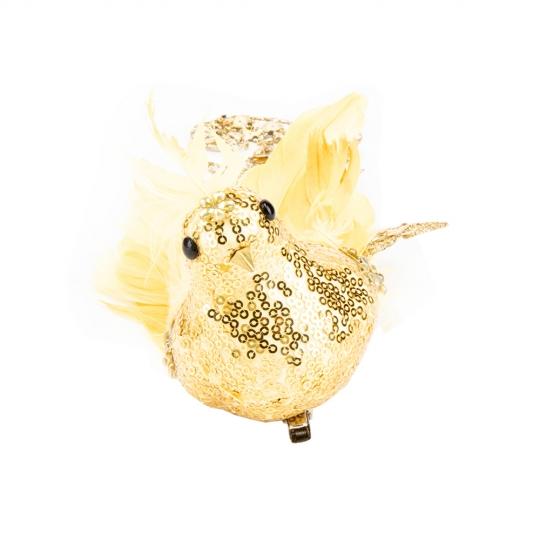 """Новогодняя игрушка """"Райская птичка"""" желтая (6018-014)"""