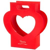 """Коробка для цветов """"Корзинка сердце"""" красная"""