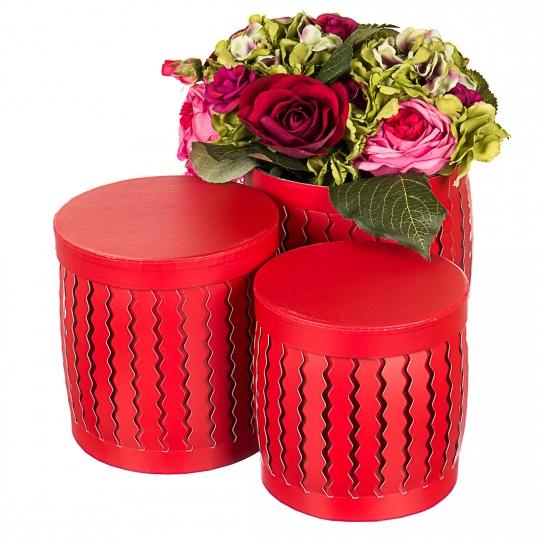 "Набор коробок ""Zigzag"" (цилиндр,  красный цвет) шт. (0099JA-B)"