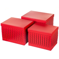 """Набор коробок """"Zigzag"""" (прямоугольник, красный цвет) 3шт."""
