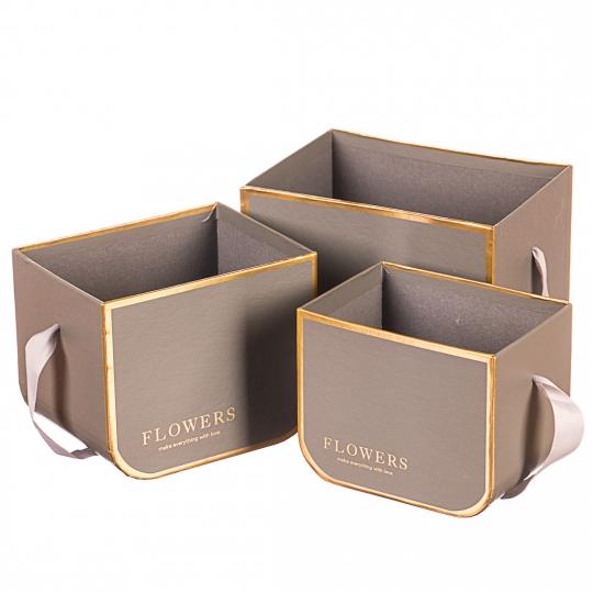 """Набор коробок """"Изящность"""" (цвет молочный шоколад) 3шт."""