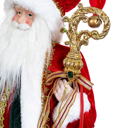 """Фигурка """"Санта с посохом""""  в красном (6011-004)"""