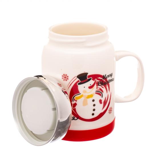 """Кружка заварник """"Праздничный снеговик"""" *Рандомный выбор дизайна (8008-001)"""