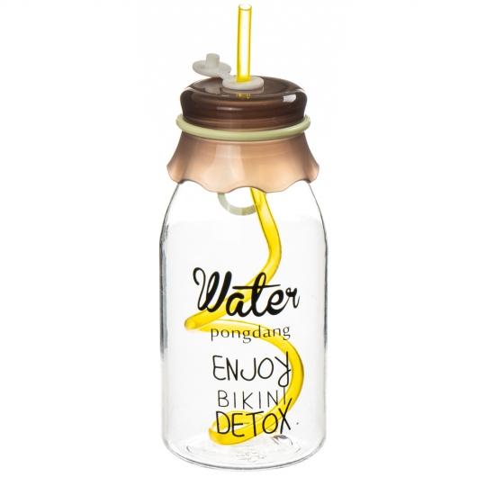 Бутылка с трубочкой 380мл *рандомный выбор дизайна (0475J)
