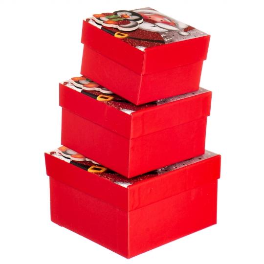 """Набор подарочных коробок """"Пингвин в гостях у Санты"""" 3 шт. Маленькие (8013-004)"""