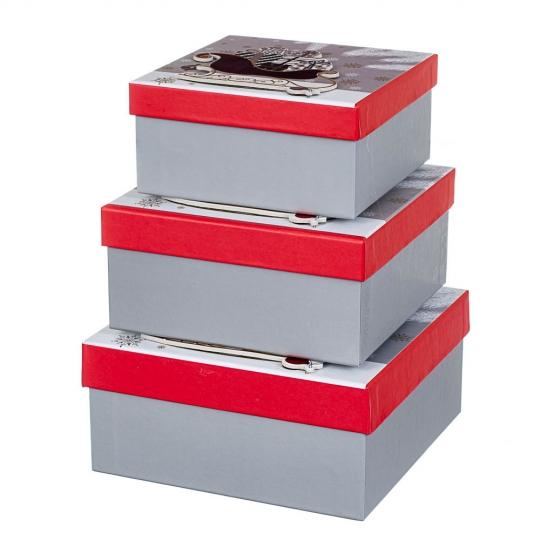 """Набор из 3 коробок """"Сани""""   20*20*9,5 (8211-047)"""