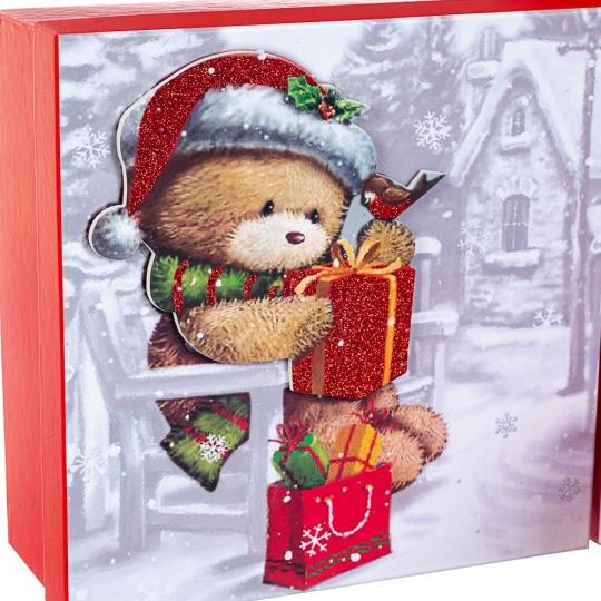 "Набор из 3 коробок ""Новогодний мишка""   28*28*11 (8211-058)"
