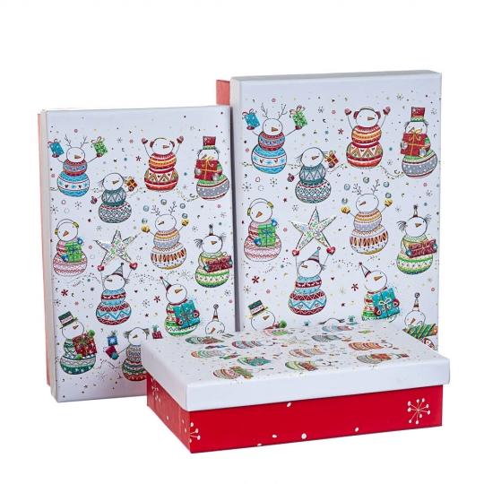 "Набор из 3 коробок ""Калейдоскоп снеговиков""   22*15*6,5 (8211-065)"