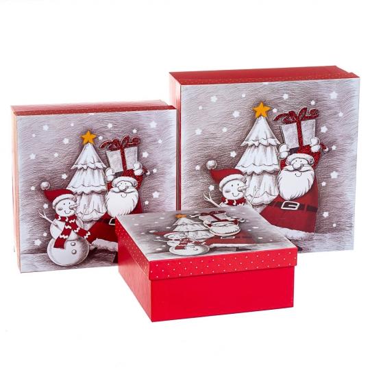 """Набор из 3 коробок """"Новогодние друзья""""  28*28*11 (8211-002)"""