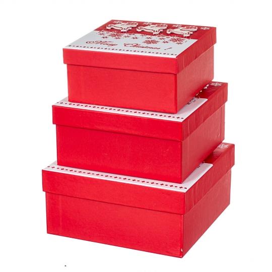 """Набор из 3 коробок """"Олени"""" 20*20*9,5 (8211-012)"""