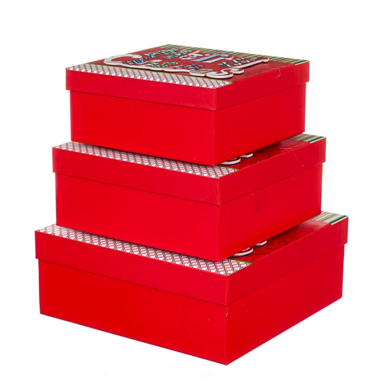 """Набор из 3 коробок """"Новогодний"""" 28*28*11 (8211-019)"""