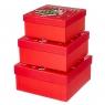 """Набор из 3 коробок """"Санта и олень"""" 20*20*9,5 (8211-021)"""